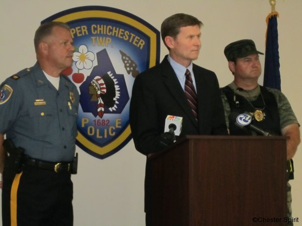 Flanked by Upper and Lower Chichester police officials, District Attorney G. Michael Green said prescription and illegal drug abuse are big problems in the county and is a primary focus for law enforcement.