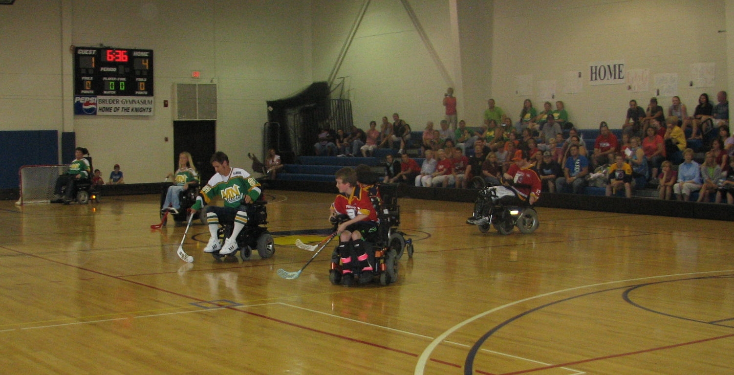 Power wheelchair hockey event brings special sport to Neumann