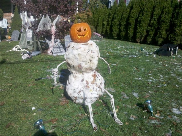 Creative family delights their community  with pumpkin head snowman