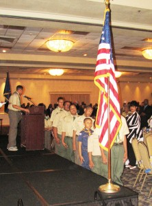 Chester Boy Scout Troop #316 presented the colors during the Pledge of Allegiance to the flag at the banquet. Photos by Loretta Rodgers