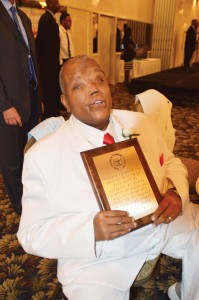 Community activist Rod Powell has been blind since age nine, so his special award plaque was entirely in Braille and it read it aloud for the audience.