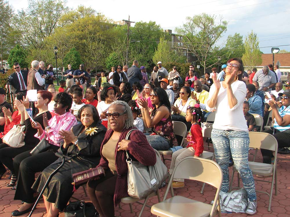 Chester residents pray for peace during the National Day of Prayer held last Thursday at Memorial Park.
