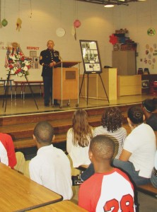 U.S. Marine Staff Sgt. Mark Baird spoke of those lost during the Memorial Day ceremony at Sharon Hill Elementary School.