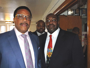 TV Judge Greg Mathis (left) has been a close friend to Richard Womack, Jr. (right) for more than 20 years and came to the area Sunday to support his candidacy for County Council.