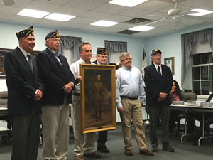 Larry Mathers, Richard Smalley, Matt Schultz, Bill Jillson, Mayor Anthony Campuzano and Larry Smalley presented the painting of Albert Clinton Wunderlich.