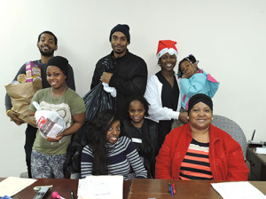"Chester GOP members Victoria Coffey, D.J. Williams, Adora Purnell and Barbara Muhammad welcomed Chester residents Thomas ""Eddie"" Jones, Breona Henry and her children, Tahmanasia Jones and Gi'yanni Williams to the food and coat give away."