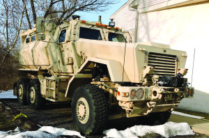 This Mine Resistant Ambush Protected (M-RAP) military-style vehicle is now the proud possession of the Trainer Police Department, courtesy of the Chester Police Department. Chester had the vehicle sitting idle for about two years.