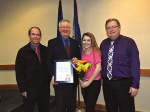 Brookhaven resident Julianne Cadden was recently presented a resolution for her kindness and consideration toward others. With Julianne are Brookhaven Police Chief Randy McGoldrick, Mayor Mike Hess and Council President John Wilwert, Jr.