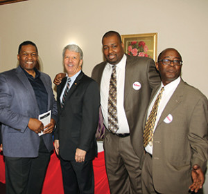 Ninth District senatorial candidate Tom Killion (center) is flanked by Chester Republican leaders at a rally Saturday afternoon. Killion is with (from left) former Chester Economic Development Director James E. Turner, City GOP Chairman Shep Garner and GOP activist and attorney Clinton Johnson.