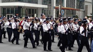 Members of the Cardinal O'Hara High School Band represented Delaware County as did police and fire personnel from Radnor and Wayne, neighboring communities to Villanova.