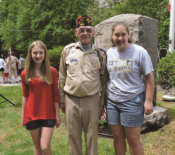 Essay winners Carrie Sappington and Grace Stefankiewicz with Post #6613 Commander James Murphy.