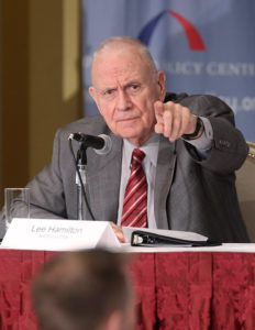 Lee Hamilton is a distinguished scholar at Indiana University School of Global and International Studies; and a professor of practice, IU School of Public and Environmental Affairs. He was a member of the U.S. House of Representatives for 34 years.