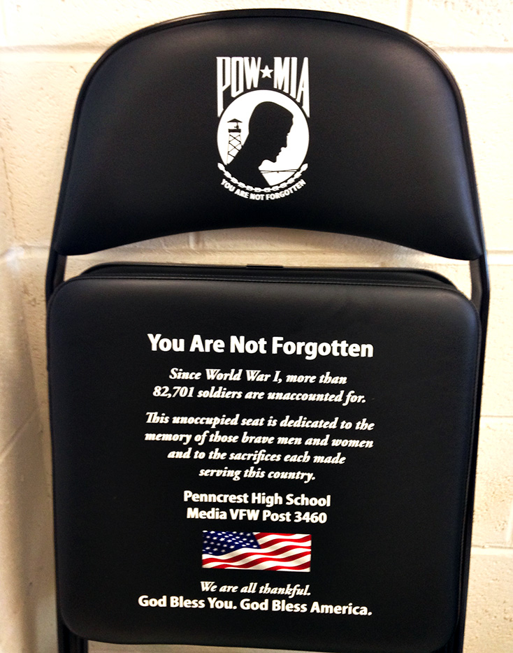"""The POW/MIA chair donated by Media VFW 3460 will be displayed at all Penncrest High School sporting events to remind fans that """"you are not forgotten."""""""