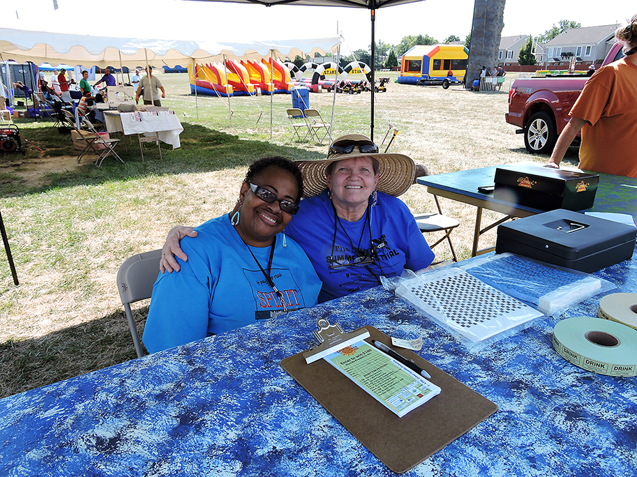 Darby Township librarian Carol Conway and Collingdale Library Treasurer Linda Burke, who also works for The Spirit, welcomed guests as they arrived at the Spirit Summer Festival.
