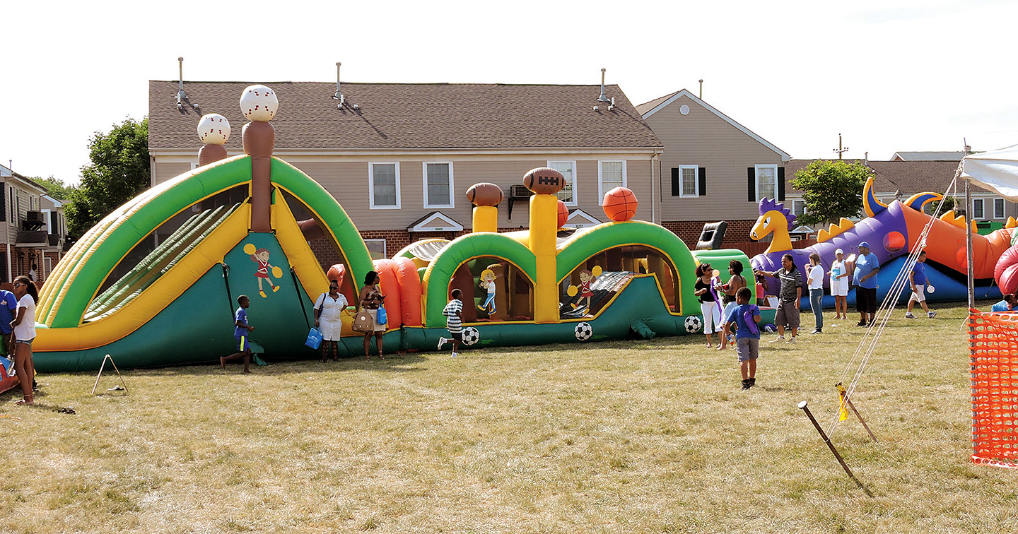 Children enjoyed a variety of inflatables during the festival.