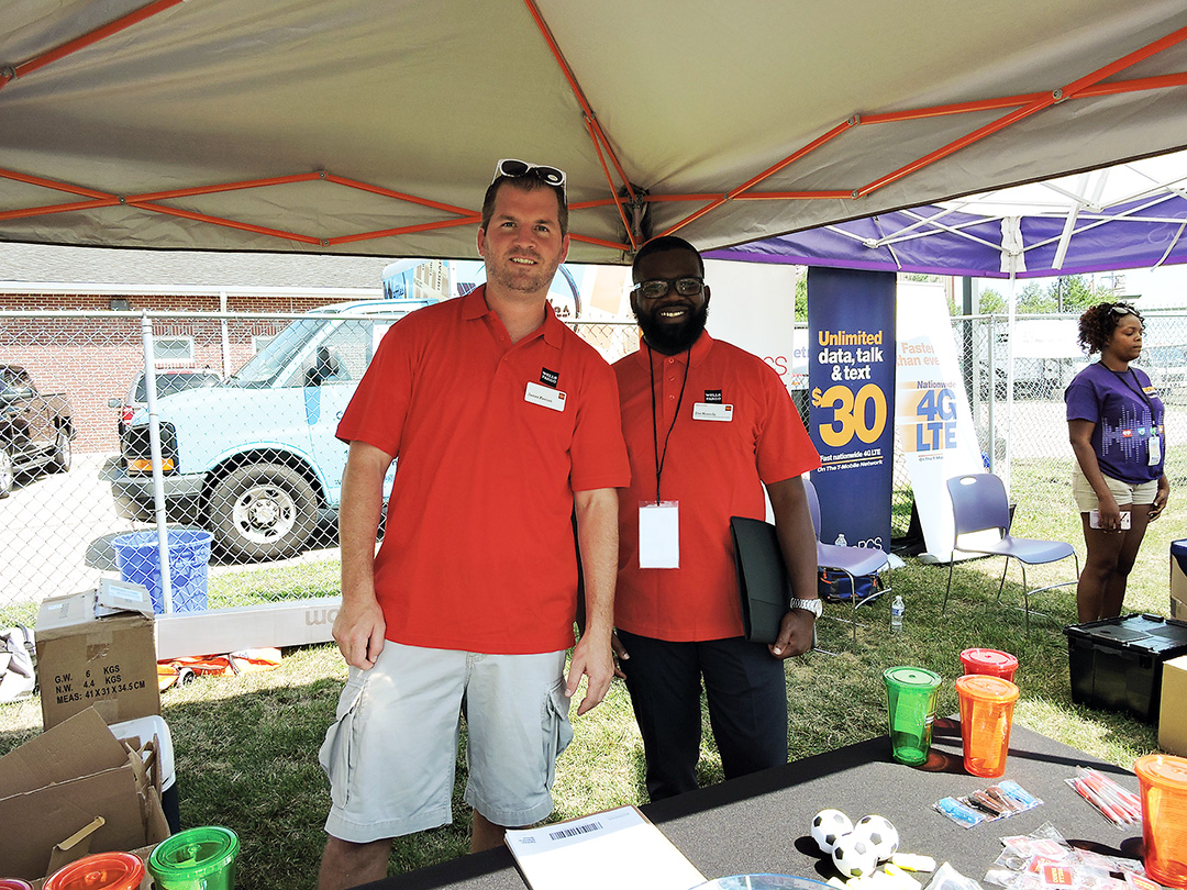 Wells Fargo Sharon Hill employees James Keenan and Dim Nossida were on hand for the festival.