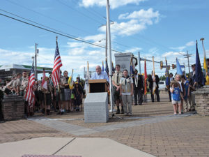 Aston Township Vice President Mike Higgins offered remarks during the township's annual 9/11 ceremony.