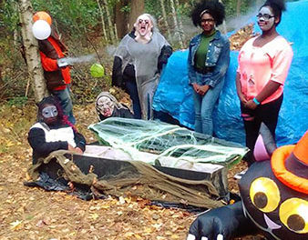 BOO! Area haunted hayride transformed park