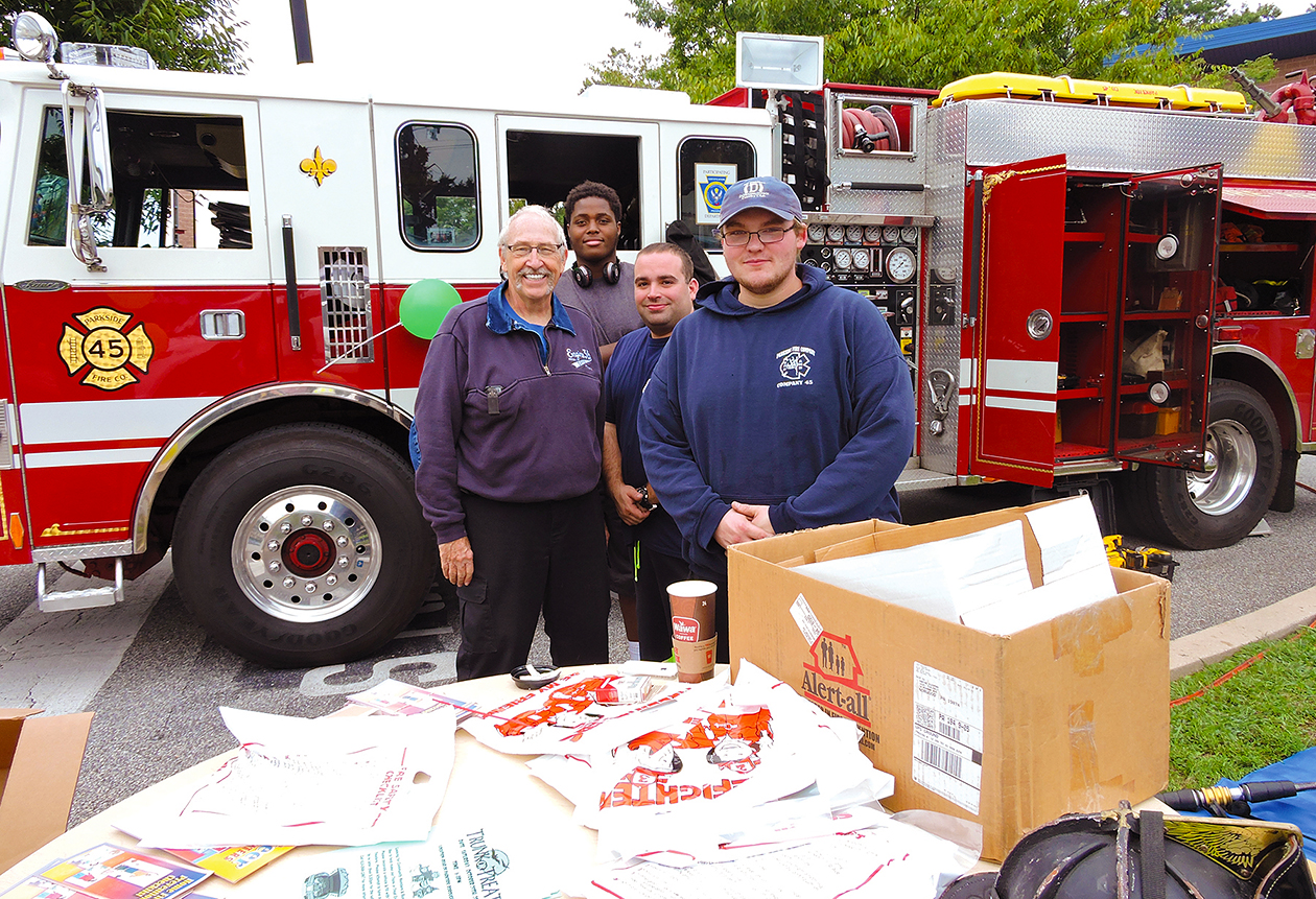 Parkside Councilman Tom Deitman with Rob Powers, Javier McMillan and Brandon Smith representing Parkside Fire Company #45.