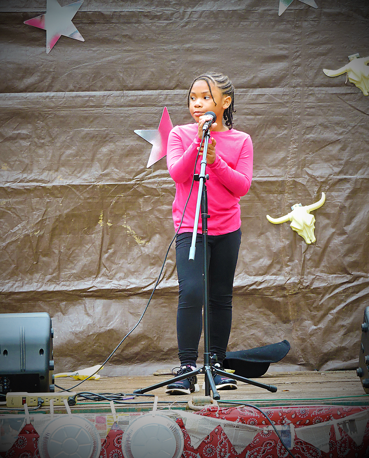 "Jaiyora Vann performs the Adele hit,""Hello"" at Glenolden's Community Day."