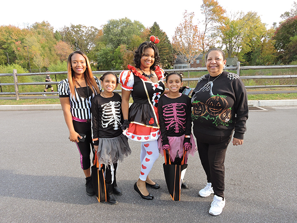 Wearing great Halloween costumes are the Morgans (from left) Zionnne, Kayla, Adia and Nyla, and grandmom, Jean Gillen.