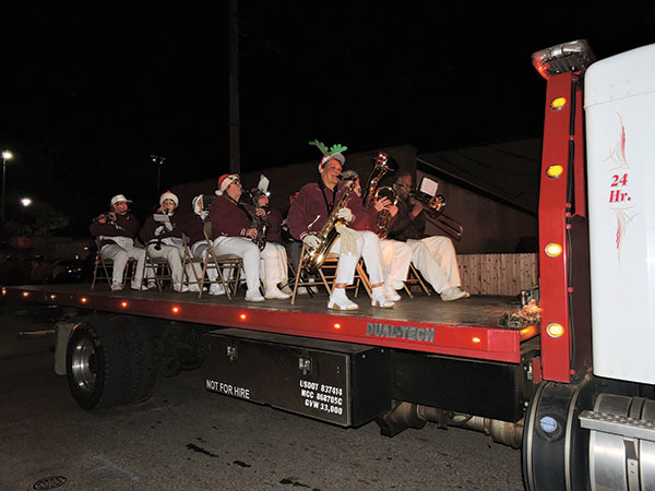 The Chichester Alumni Band participated in the Marcus Hook holiday parade.