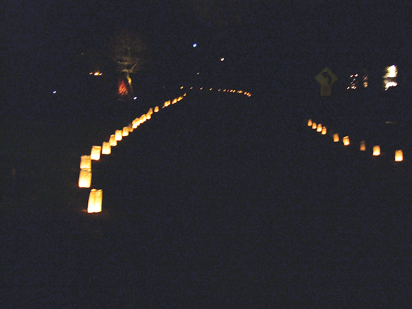 The lighted bags curved around streets New Year's Day in Swarthmore and Wallingford.