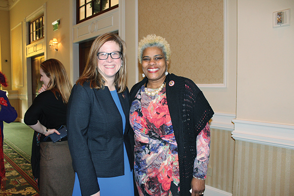 Democratic state Reps. Leanne Krueger-Braneky (D-161) (left) and Margo Davidson (D-164) were among an estimated 500 guests at the Unity Breakfast celebrating Dr. King.