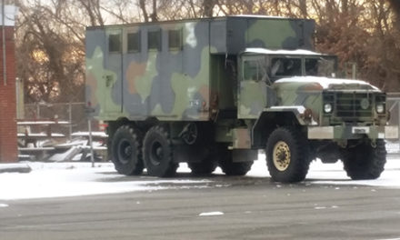 Combat vehicle sits idle in Upland warehouse