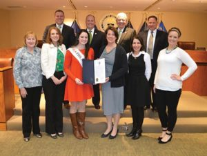Delaware County Council recognized Brigid Gallagher as the 2016 Philadelphia Rose of Tralee for Irish Heritage Month. The Havertown native and Archbishop Carroll graduate, was selected as Rose of Tralee last April and has been acting as ambassador for the Irish American community ever since. She is joined by Mary Conaghan, of Glen Mills; Karen Conaghan Race, of Havertown and chairperson of the Rose of Tralee Committee; Council Vice Chairman Colleen Morrone, Margaret King, of Media Borough and 2013 Philadelphia Rose of Tralee; and Brittany Carter, of Garnet Valley. (Top row, from left) Councilmen Michael Culp and John McBlain, Council Chairman Mario Civera, Jr. and Councilman Dave White.