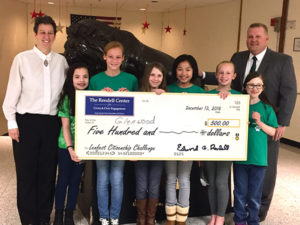 Rachael Pinsley's fifth grade class at Glenwood Elementary School captured second place in the fourth annual Lenfest Citizenship Challenge hosted by The Rendell Center for Civics and Civic Engagement. The presentation at a recent Rose Tree Media School Board meeting was given by (from left) Pinsley, Lauren Troy, Makayla Fickes, Alice Barcomb, Megan Chan, Taylor Ruff, Savannah Schmidt and Principal Eric Bucci.