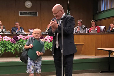 Child Hero, Young toddler saluted for saving infant sister from fire