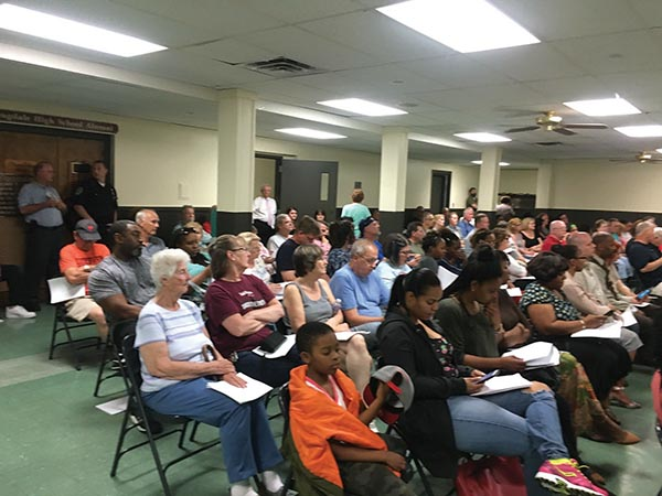 Collingdale residents packed their non-air-conditioned Borough Hall for more than three hours to register their dissatisfaction with an application for a halfway house in the community.