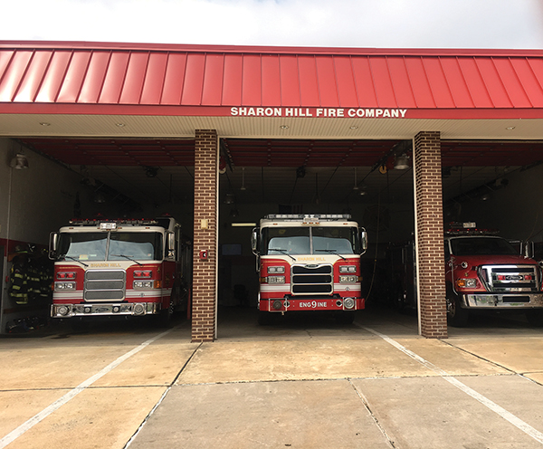 At Sharon Hill's fire station, trucks sit idle ready for action.
