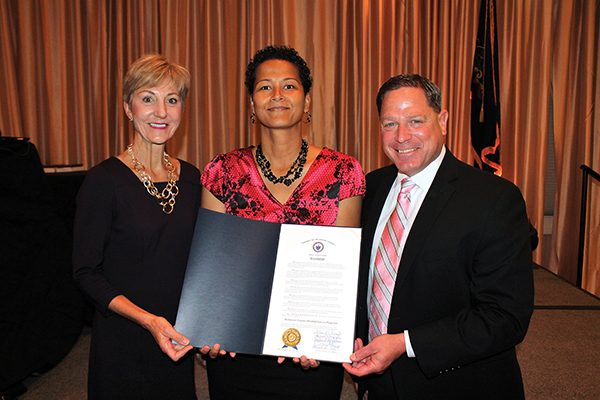 In recognition of 20 years of behavioral health partnership that is the Delaware County HealthChoices program, County Council presented a resolution to Julie Brown (center), senior account executive, Magellan Behavioral Health of Pennsylvania. She is flanked by County Executive Director Marianne Grace and County Councilman Dave White.