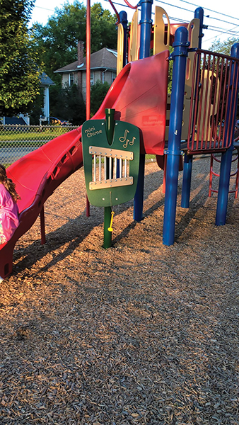 New playground equipment in Rutledge can challenge a child's musical skills, too.