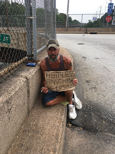 Frank, a 50 year-old, is a familiar fixture as a panhandler in Chester. He says he regrets his life's mistakes and prays that he'll get real help one day.