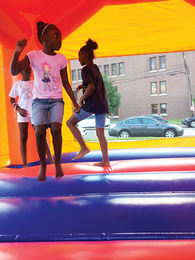 Students Vuhmeer Flowers and Sariyah White found hanging out in the bounce house a lot of fun.