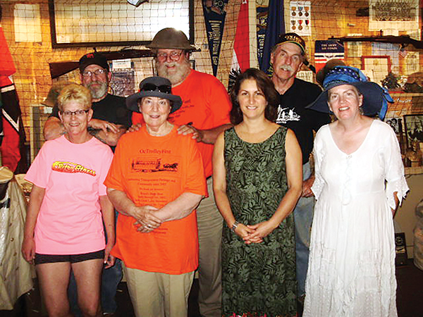 #4 Darby and Collingdale historical societies' members worked to make the celebration successful. They include (front, from left) Maggie Tracz, Jan Haigis, Lisa Small and Elizabeth MacGuire and (rear, from left) VFW Commander Bob Cartlidge, John Haigis and Pat Gallagher.