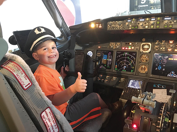 Six-year-old Shane Westhead may be too young to pilot a plane but he was flying high on a recent trip from Ridley Township to his hometown of St. Louis. He is the grandson of Ridley School Board manager Maryann Salerno and her husband, Charles.