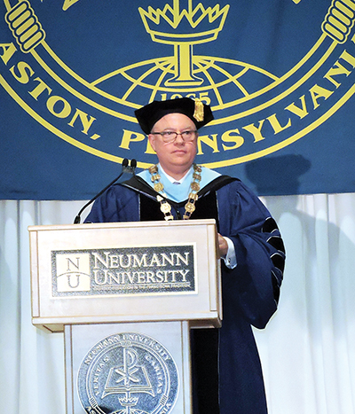Dr. Chris Domes was inaugurated as the sixth president of Neumann University.