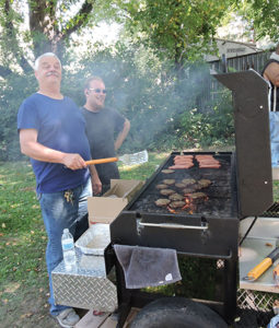 Trainer residents enjoyed the hot dogs and hamburgers cooked by Ed Kline and Ryan Lord.