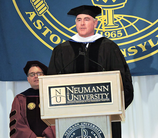 U.S. Congressman Patrick Meehan (R-7) offered greetings to Dr. Chris Domes.