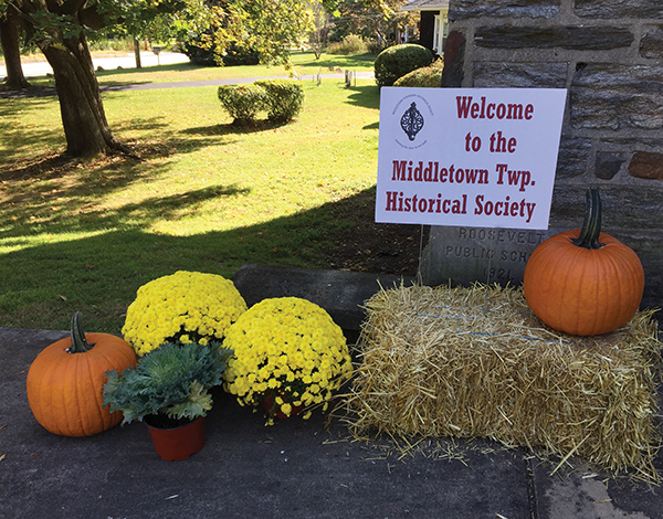 The sign welcomed visitors to the new home of the Middletown Township Historical Society at Roosevelt School.