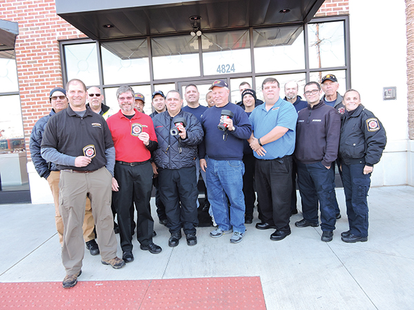 The Brookhaven Fire Department was out en force to express appreciation for a $16,355 grant they used to purchase two thermal imaging cameras. Pictured are Rick and Mark Lohkamp, owners of Firehouse Subs in Brookhaven, Fire Chief Rob Montella, Fire Dept. President Jon Grant, and the chain's area representative Rob Lowe.