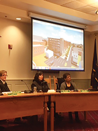 Media Borough Council members Peter Williamson, Amy Johnson and Sayre Dixon listened to the presentation by Delaware County to rebuild two blocks of offices and parking spaces.