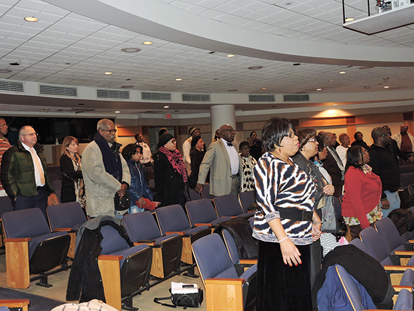 Chester residents in praise during the Dr. King celebration.