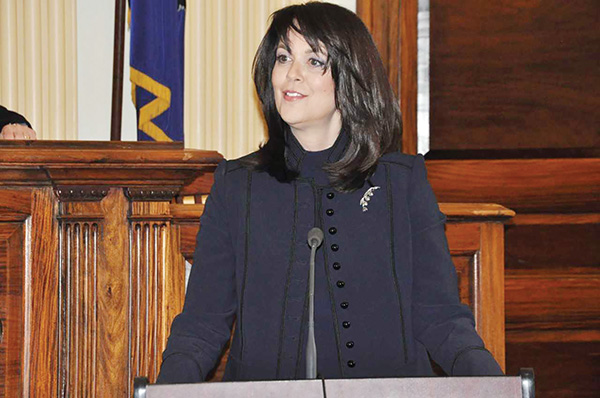"""Katayoun """"Kat"""" M. Copeland, Delaware County's newest district attorney, addressed the standing-room-only audience."""