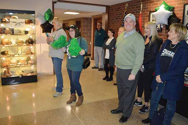 Delaware County Council Chairman John McBlain (right) led the cheering at the Eagles rally that took place on Friday at the Government Center in Media.
